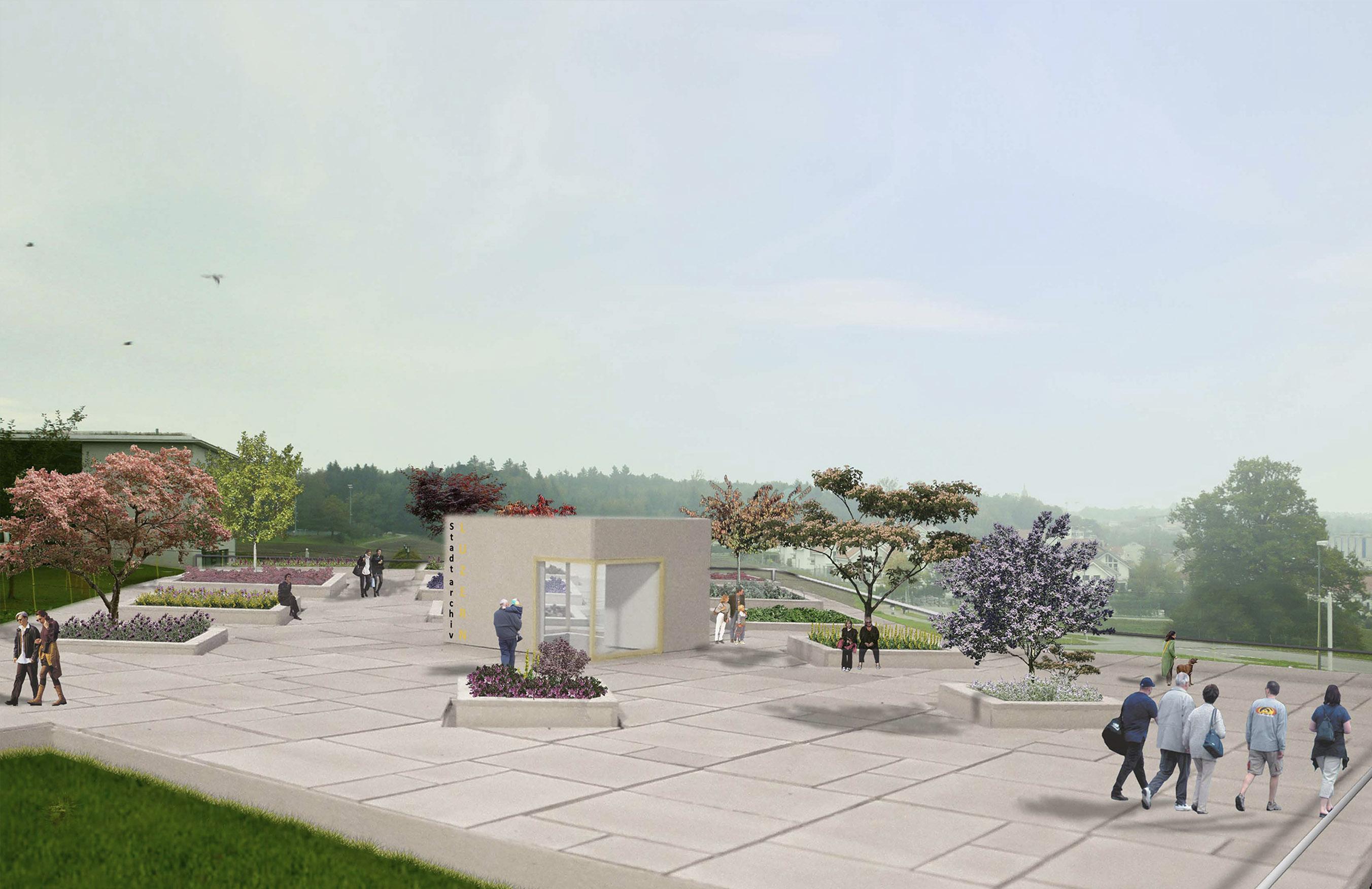 Visualisierung Terrasse und Eingangssituation