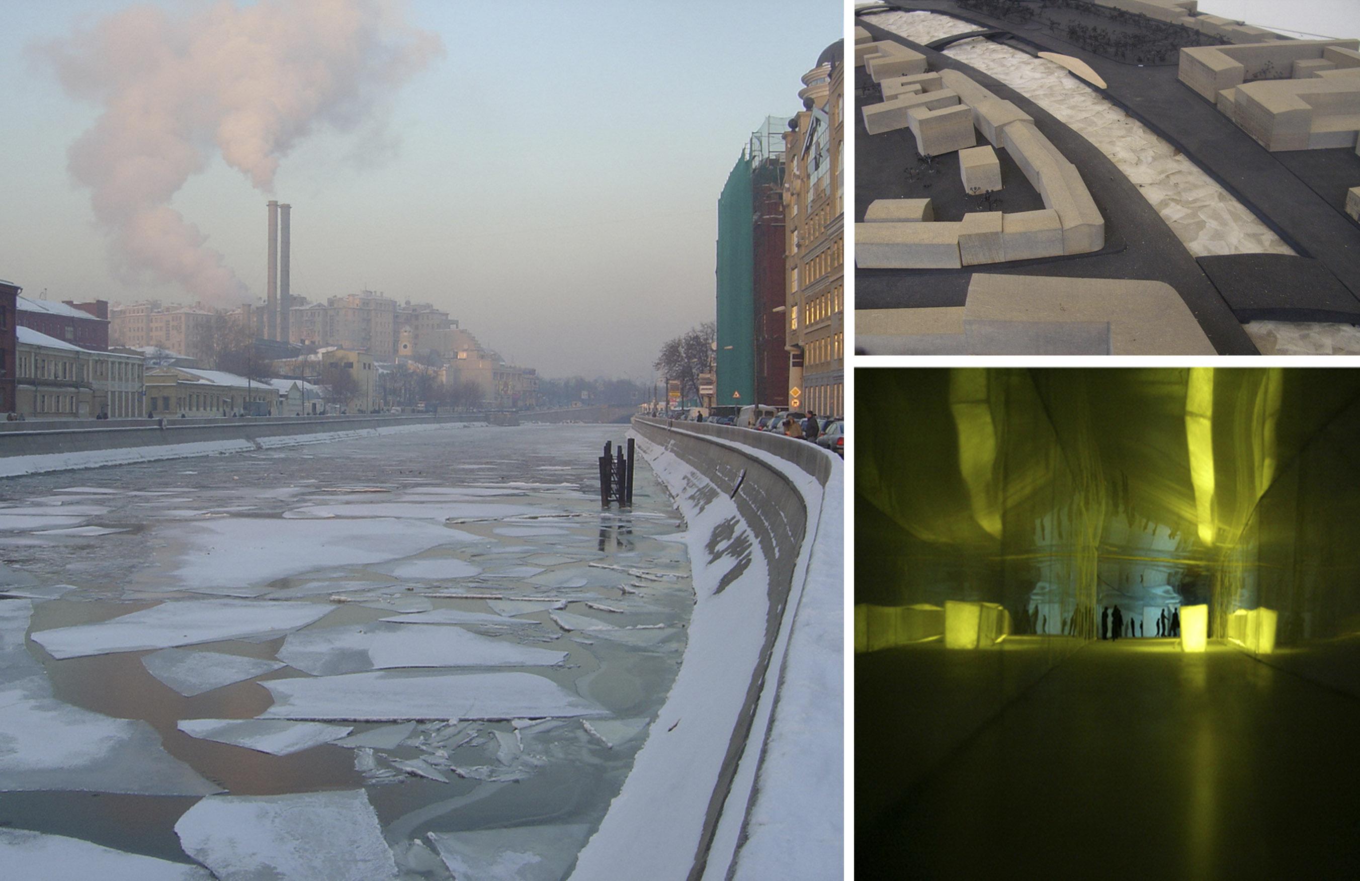 Der Fluss Moskwa mit treibendem Eis