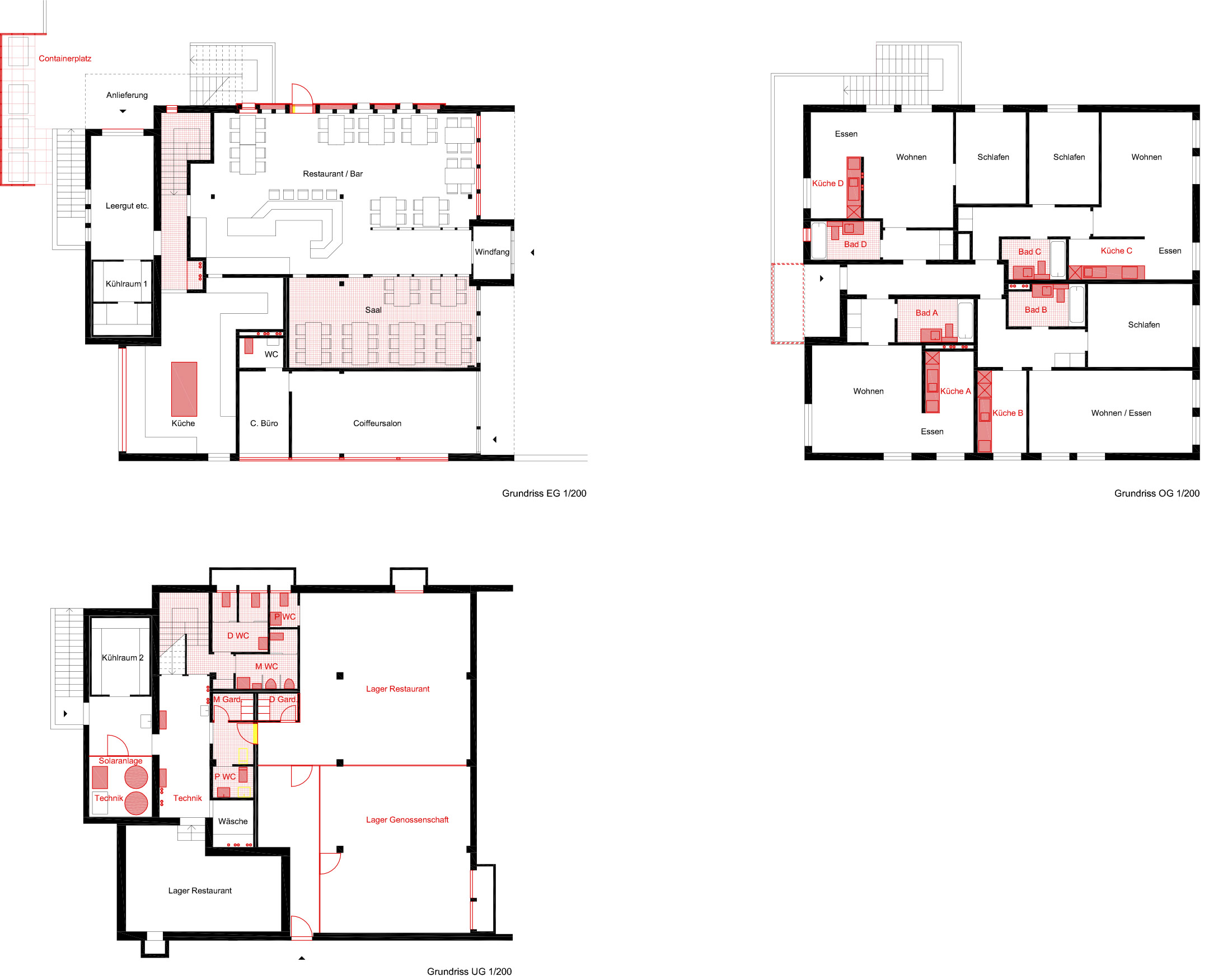 Grundrisse: Untergeschoss, Erdgeschoss, Obergeschoss