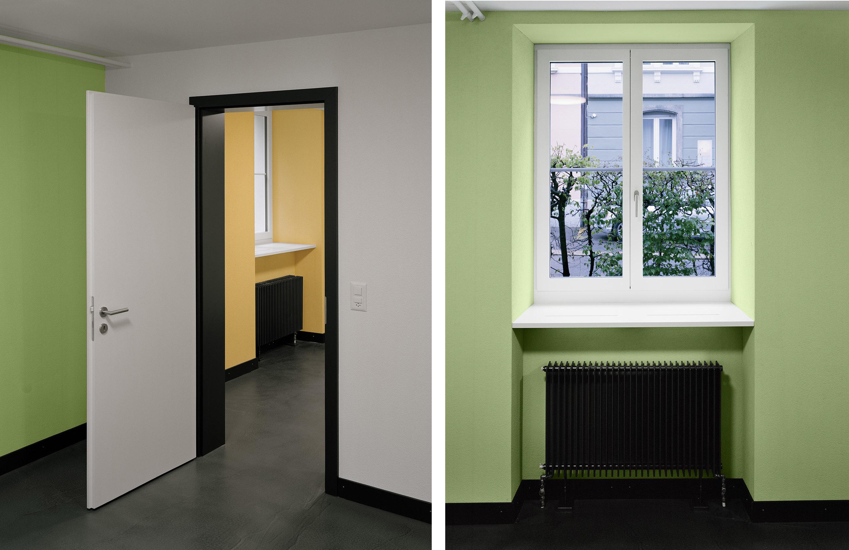 Material-/Farbkonzept / Ausblick im Erdgeschoss