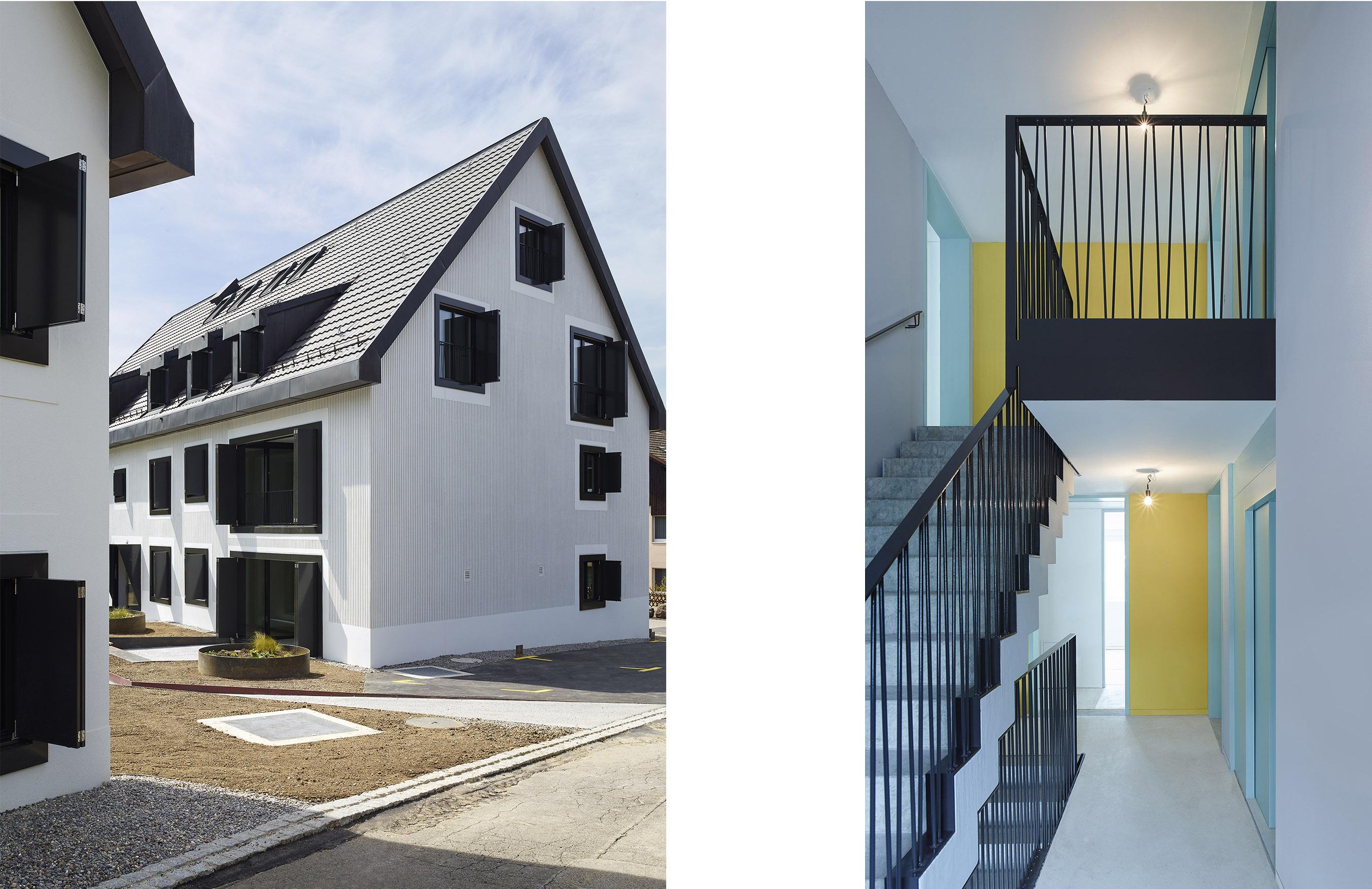 Strukturputz, Metallklappläden / Treppenhaus
