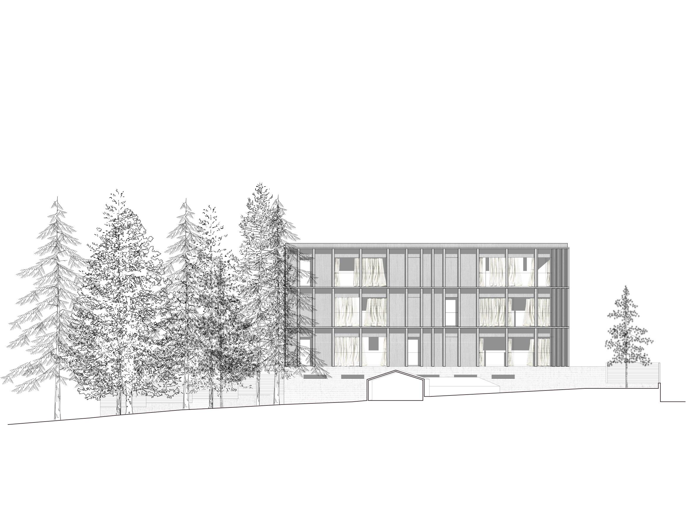 Westfassade Baukörper 2