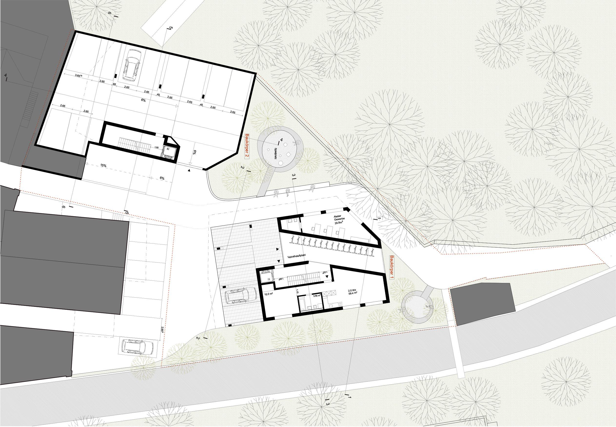 Baukörper 2 + 1, Erdgeschoss