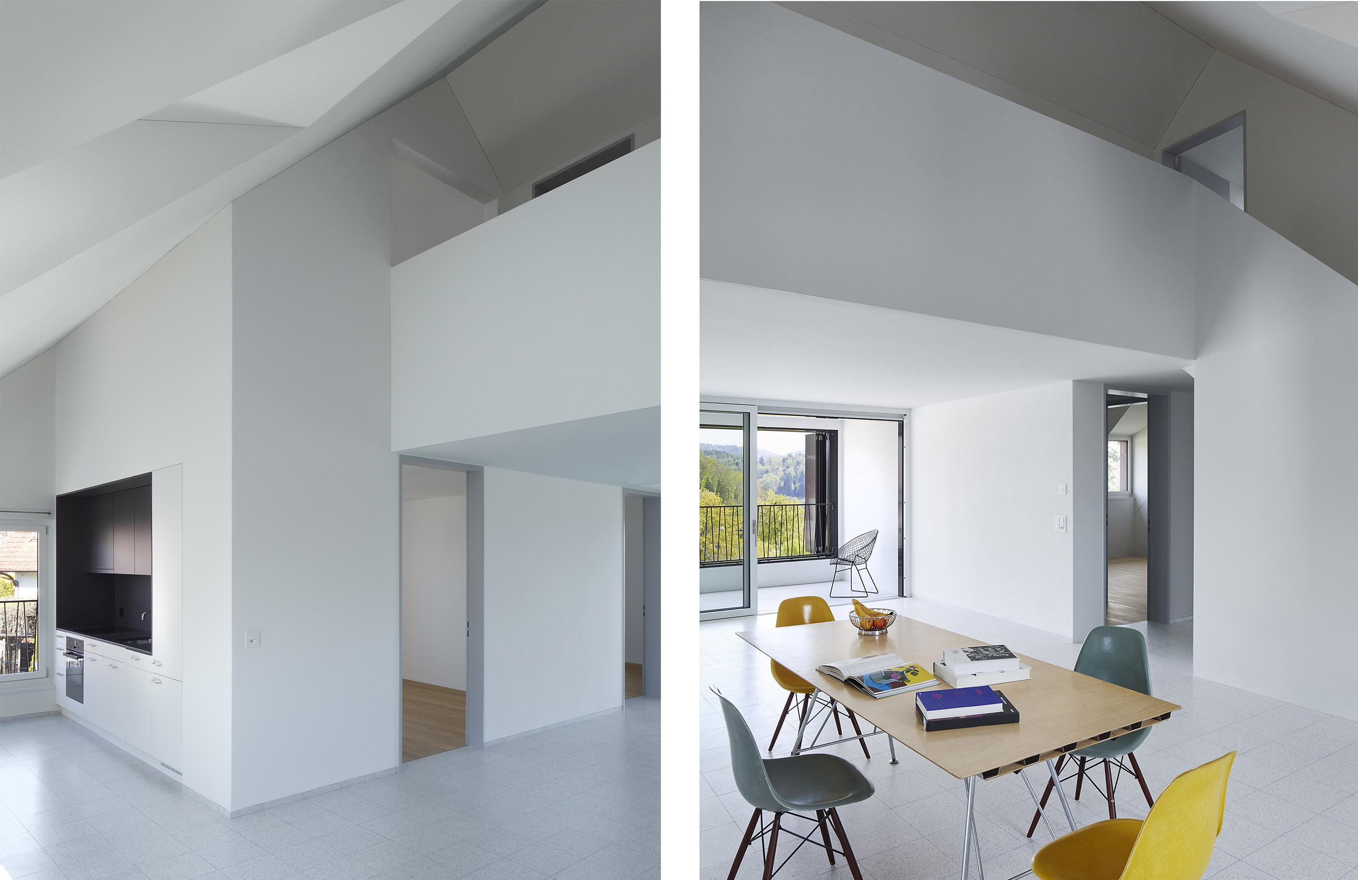 Küche mit Nischenkonzept / Essen-Wohnen im Dachgeschoss
