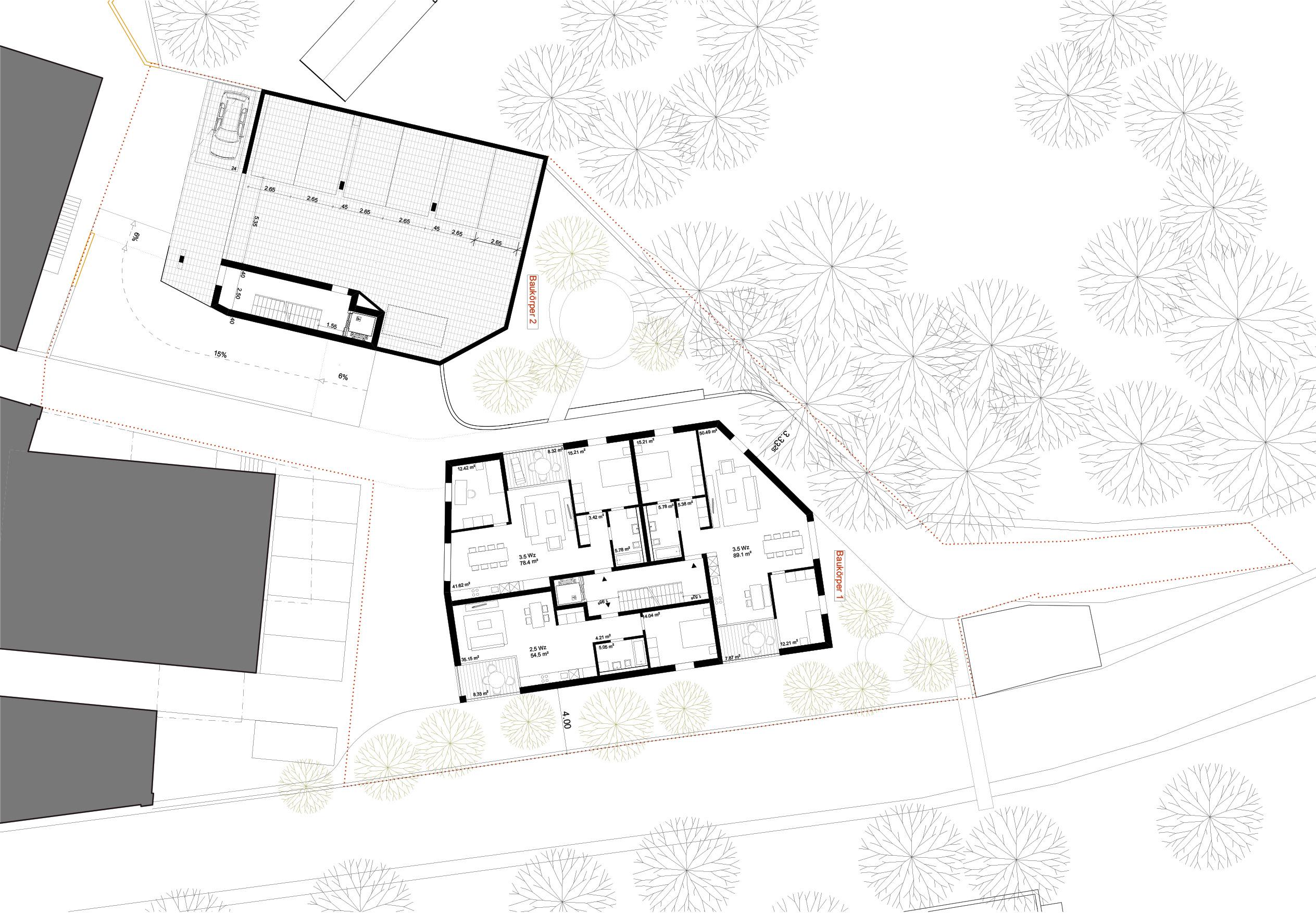 Baukörper 2 + 1, Obergeschoss
