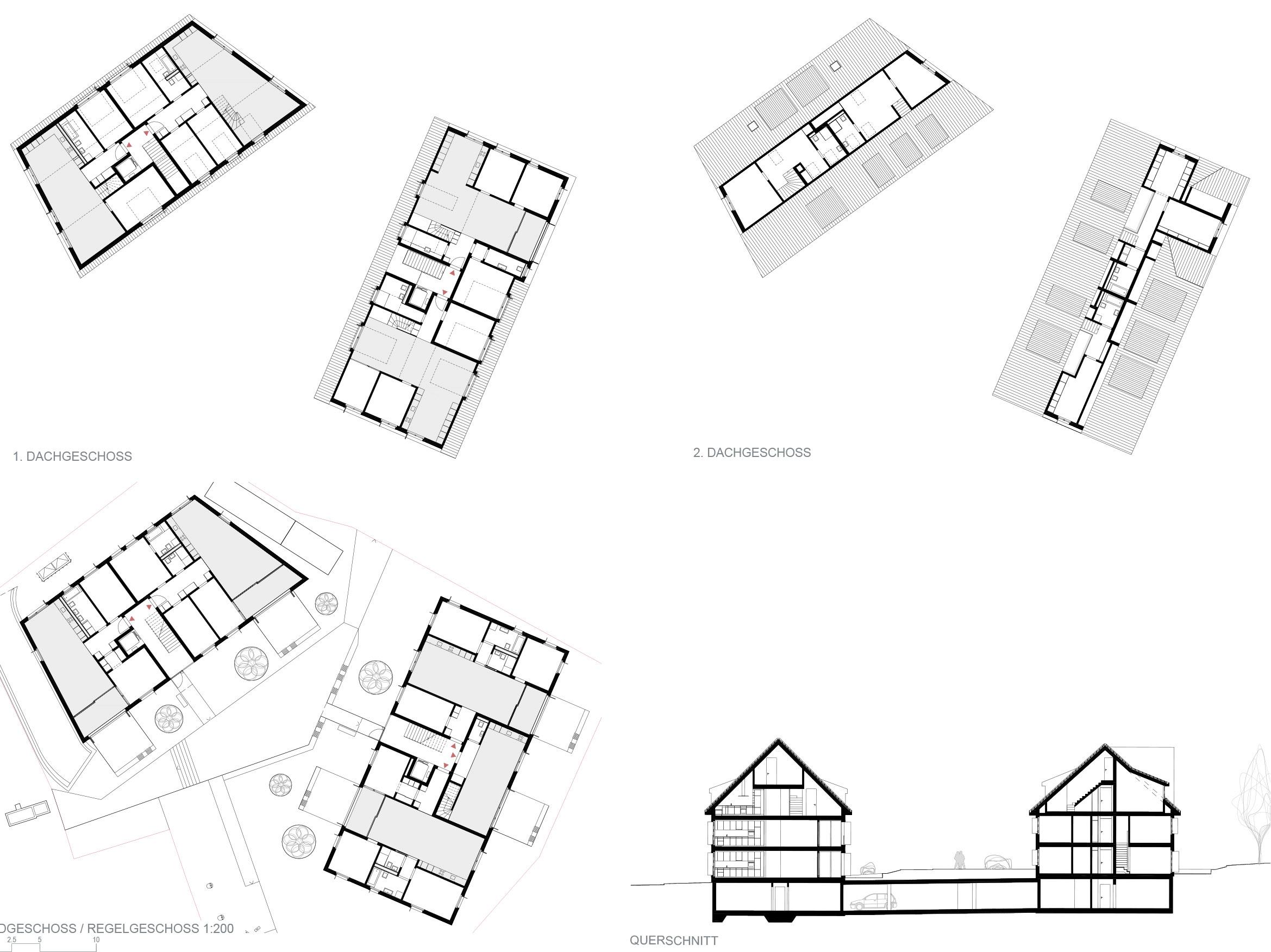 1. Dachgeschoss, 2. Dachgeschoss / Erdgeschoss, Regelgeschoss / Querschnitt