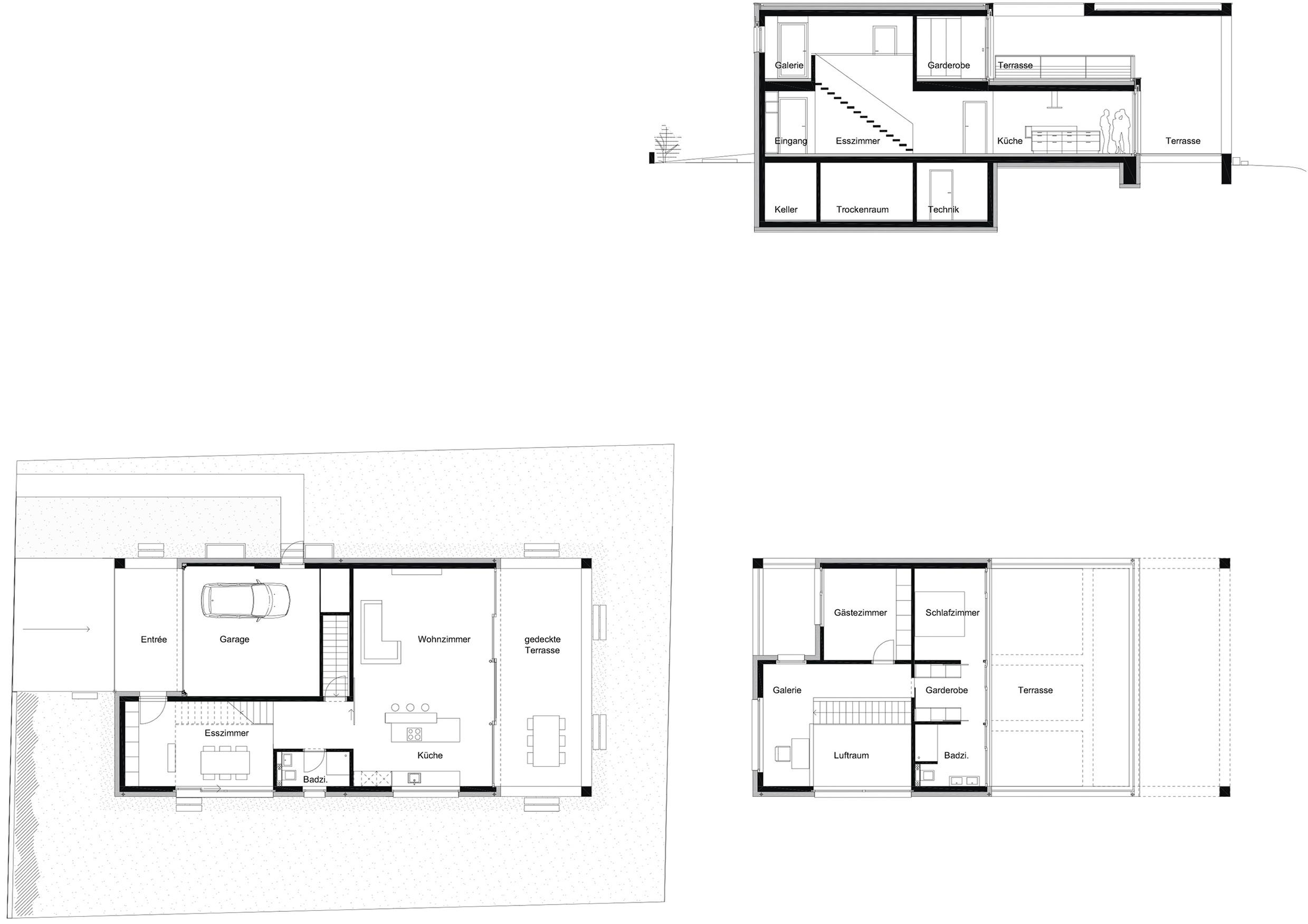 Längsschnitt, Grundriss Erdgeschoss, Grundriss Obergeschoss